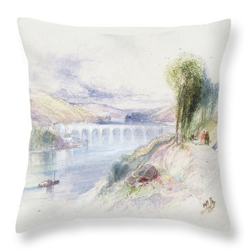 The River Schuykill Throw Pillow by Thomas Moran