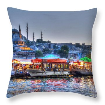The Riverboats Of Istanbul Throw Pillow by Michael Garyet