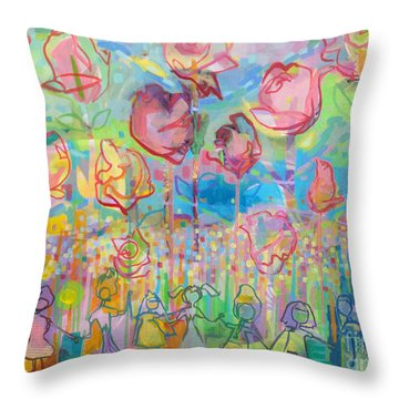 The Rose Garden, Love Wins Throw Pillow by Kimberly Santini