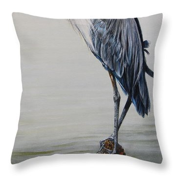The Sentinel - Portrait Of A Great Blue Heron Throw Pillow by Rob Dreyer AFC