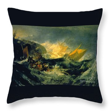 The Shipwreck Of The Minotaur Throw Pillow by JMW Turner