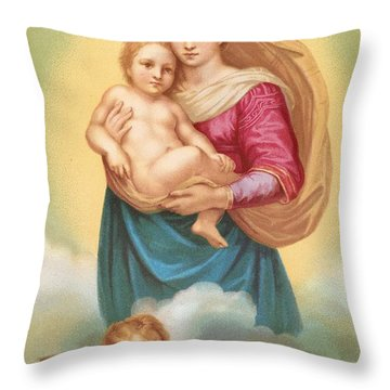 The Sistine Madonna Throw Pillow by Raphael