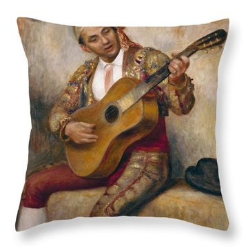 The Spanish Guitarist Throw Pillow by Pierre Auguste Renoir