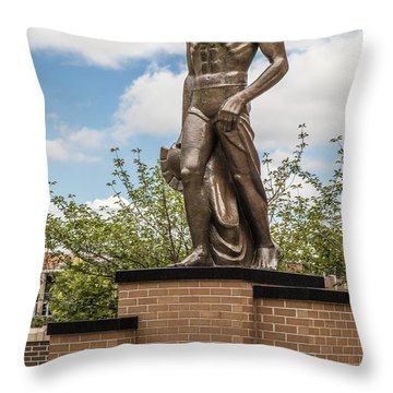 The Spartan Statue - Michigan State University Throw Pillow by John McGraw