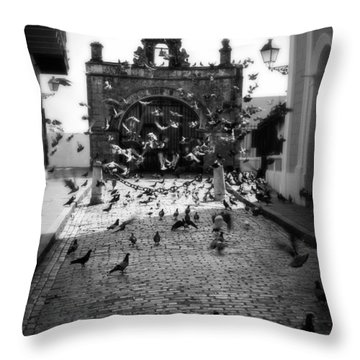 The Street Pigeons Throw Pillow by Perry Webster