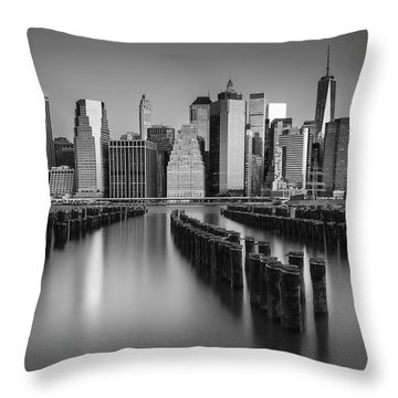 The Sun Rises At The New York City Skyline Bw Throw Pillow by Susan Candelario