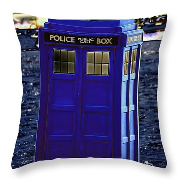 The Tardis Throw Pillow by Steve Purnell