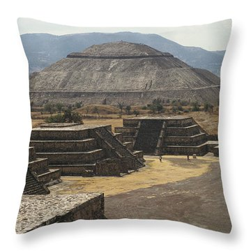 The Temple Of The Sun At Teotihuacan Throw Pillow by Martin Gray
