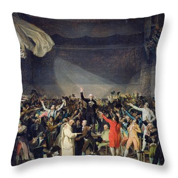 The Tennis Court Oath Throw Pillow by Jacques Louis David