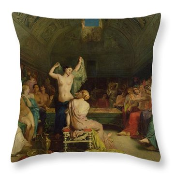 The Tepidarium Throw Pillow by Theodore Chasseriau