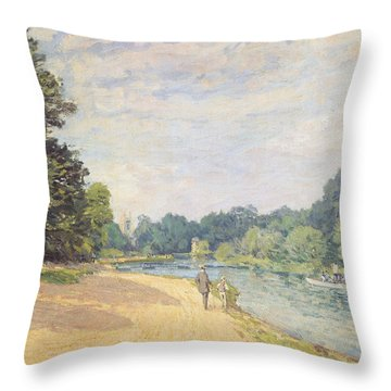 The Thames With Hampton Church Throw Pillow by Alfred Sisley