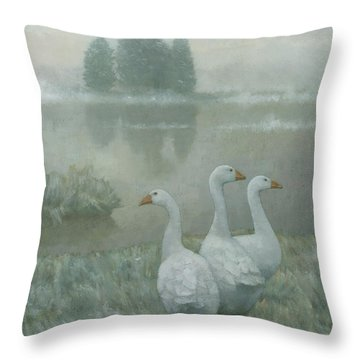 The Three Geese Throw Pillow by Steve Mitchell