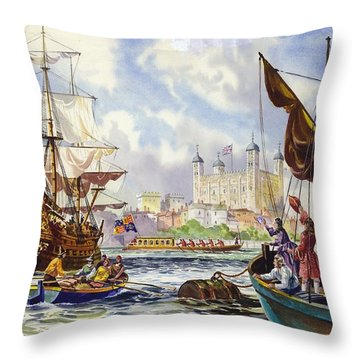 The Tower Of London In The Late 17th Century  Throw Pillow by English School
