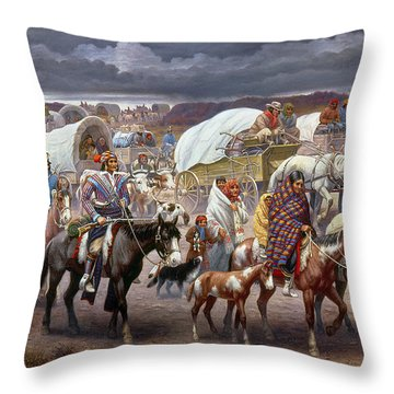 The Trail Of Tears Throw Pillow by Granger