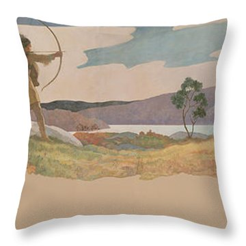The Turkey Hunters Throw Pillow by Newell Convers Wyeth
