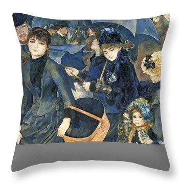 The Umbrellas Throw Pillow by Pierre Auguste Renoir