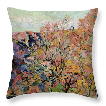 The Valley Of The Sedelle In Crozant Throw Pillow by Jean Baptiste Armand Guillaumin