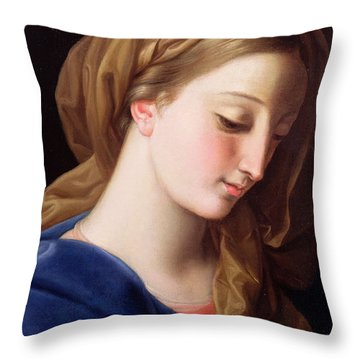 The Virgin Annunciate Throw Pillow by  Pompeo Girolamo Batoni