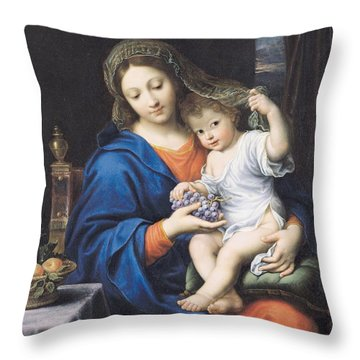 The Virgin Of The Grapes Throw Pillow by Pierre Mignard