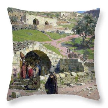 The Virgin Spring In Nazareth Throw Pillow by Vasilij Dmitrievich Polenov
