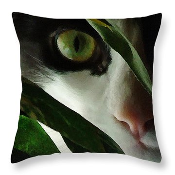 The  Voyeur Throw Pillow by Lynn Andrews