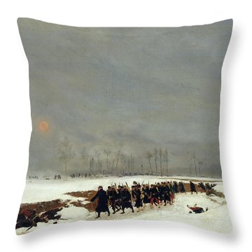The War Of 1870 An Infantry Column On Their Way To A Raid Throw Pillow by Jean-Baptiste Edouard Detaille