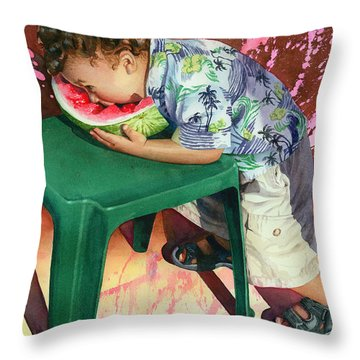 The Watermelon Eater Throw Pillow by Marguerite Chadwick-Juner