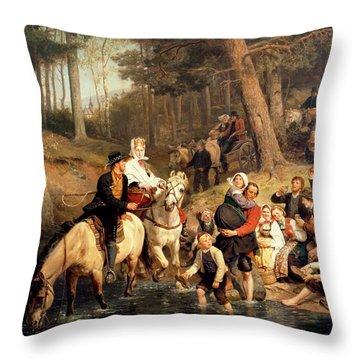 The Wedding Trek Throw Pillow by Adolphe Tidemand