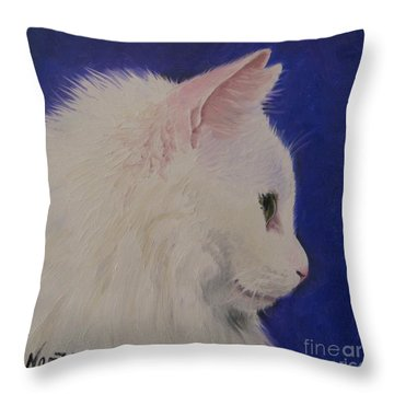 The White Cat Throw Pillow by Jindra Noewi