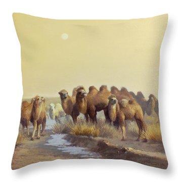 The Winter Of Desert Throw Pillow by Chen Baoyi