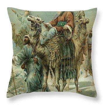 The Wise Men Seeking Jesus Throw Pillow by Ambrose Dudley