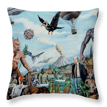 The World Of Ray Harryhausen Throw Pillow by Tony Banos