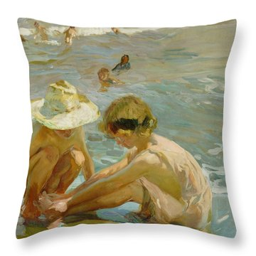 The Wounded Foot Throw Pillow by Joaquin Sorolla y Bastida