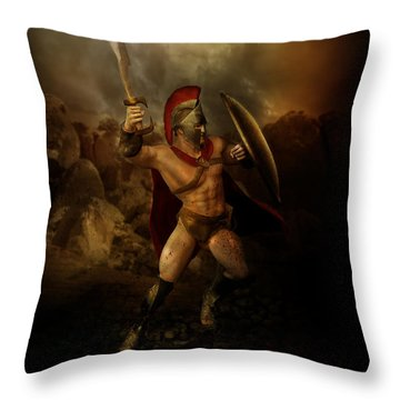 Thermopalyae Throw Pillow by Mary Hood
