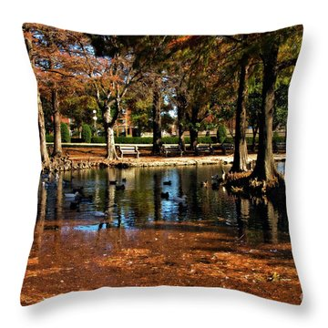 Theta Waterfowl Throw Pillow by Lana Trussell