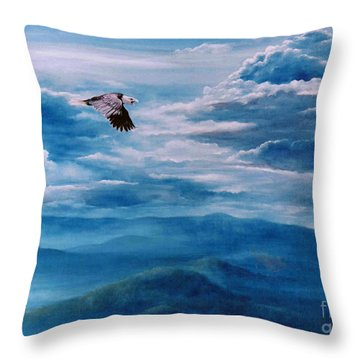 They Shall Mount Up On Wings Of Eagles Throw Pillow by Ann  Cockerill
