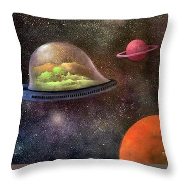 They Took Their World With Them Throw Pillow by Randy Burns aka Wiles Henly