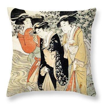 Three Girls Paddling In A River Throw Pillow by Kitagawa Utamaro