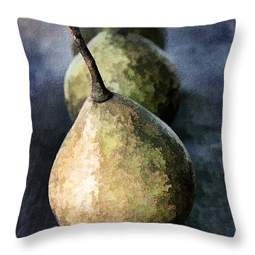 Three Pears Throw Pillow by Darren Fisher