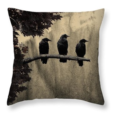 Three Ravens Throw Pillow by Gothicrow Images