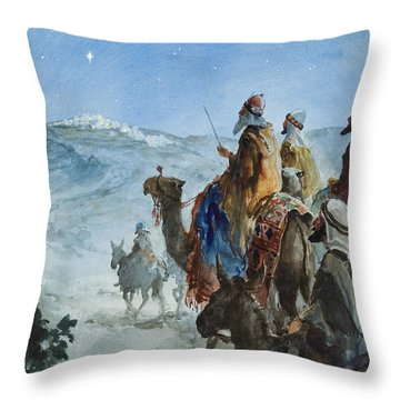 Three Wise Men Throw Pillow by Henry Collier
