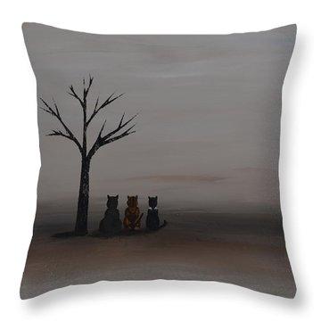 Three's Company Throw Pillow by Leana De Villiers