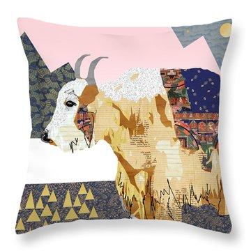 Tibet Yak Collage Throw Pillow by Claudia Schoen