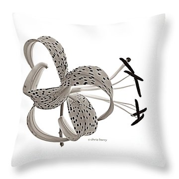 Tiger Lily In Black And White Throw Pillow by Chris Berry