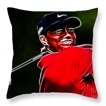 Tiger Woods Throw Pillow by Paul Ward