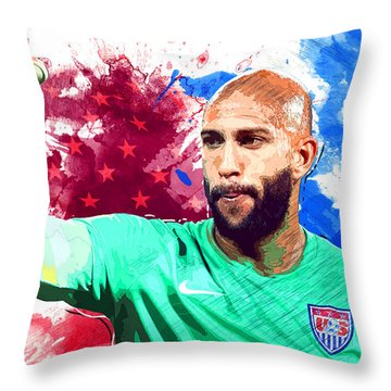 Tim Howard Throw Pillow by Semih Yurdabak
