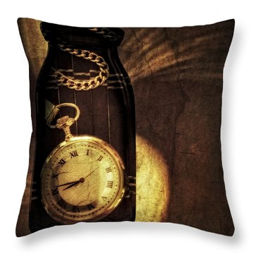 Time In A Bottle Throw Pillow by Susan Candelario