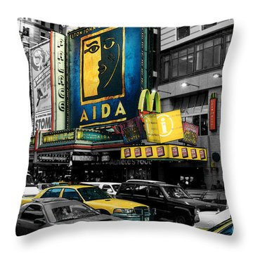 Times Square Nyc Throw Pillow by Guy Harnett