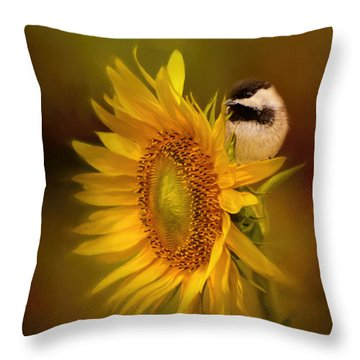 Tiny Surprise Bird Art Throw Pillow by Jai Johnson