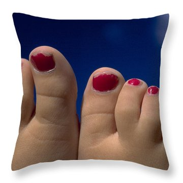 Toes Throw Pillow by Michael Mogensen